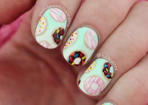 Donut Nails Handpainted Polish Tutorial
