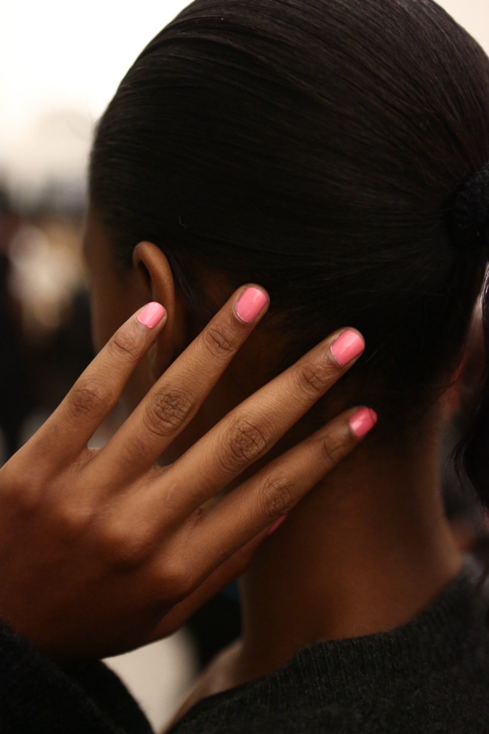 <p>Pretty pink nails ruled at Douglas Hannant. <strong>Essie</strong>&rsquo;s First Base Coat, Knockout Pout, and Good to Go looked lovely alongside all the fun and floral designs at this show. &nbsp;</p>