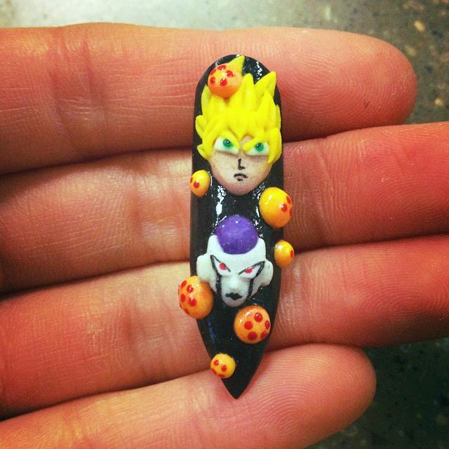 """<p>Dragon Ball Z Goku vs. Frieza, nail art by <a href=""""http://instagram.com/miyukiarts"""">Stine Miyuki Oswald</a></p>"""