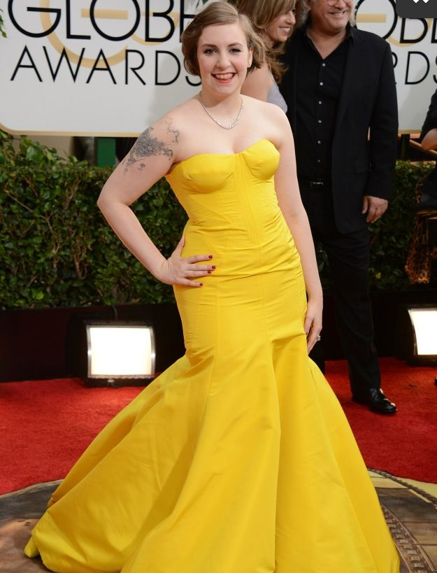 """<p>Lena Dunham chose Red Carpet Manicure's Only in Hollywood, selected by Beth Fricke. """"She wanted something fun, but still classic and elegant,"""" said Fricke. Image via @britishvogue.</p>"""