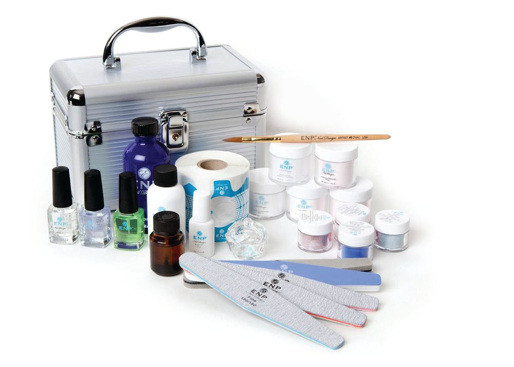 <p>ENP&rsquo;s Acrylic Kit includes everything you need to do 50 sets of acrylic nails. It contains four colored acrylic powders, five acrylic powders, crystal dappen dish, liquid monomer, prep and primer, sculpting brush, a roll of forms, glue, files with varied grits, buffer, and cuticle oil.&nbsp;</p>