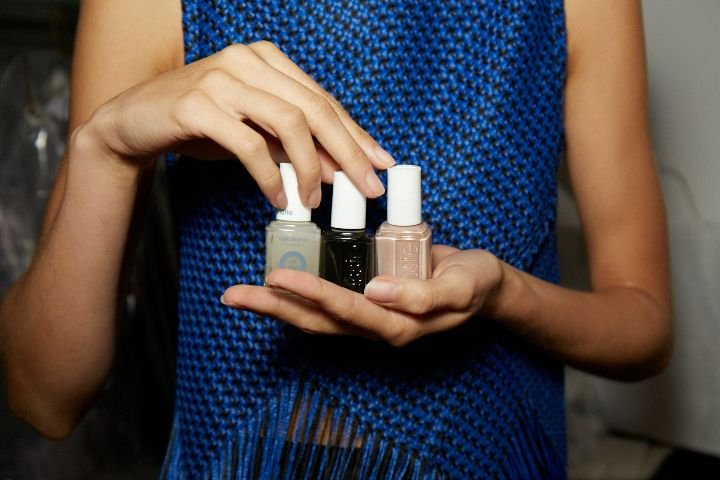 <p>Essie Au Natural, Licorice, and Matte About You top coat were used at Proenza Schouler's show.</p>