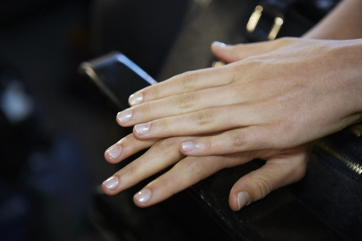 <p>Use Essie Like Linen and Au Natural to get the look at Altuzarra.</p>