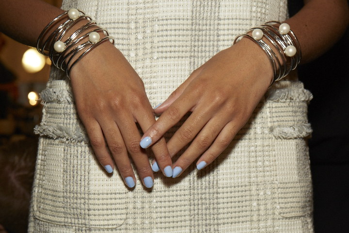 <p>For the blue look at Brooks Brothers by Zac Posen, apply two coats of Essie Bikini So Teeny.</p>