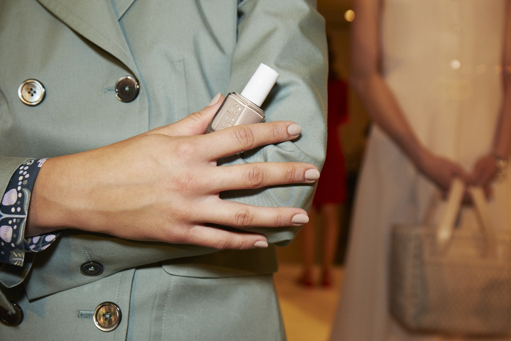 <p>For a more nude palette (like the one at Brooks Brothers by Zac Posen) use two coats of Essie Sand Tropez.</p>