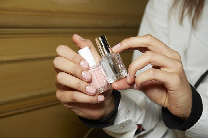 <p>Michelle Saunders chose Essie Spaghetti Strap for the Carolina Herrera collection, as it perfectly matched the elegant pink hue found throughout the fabrics.</p>