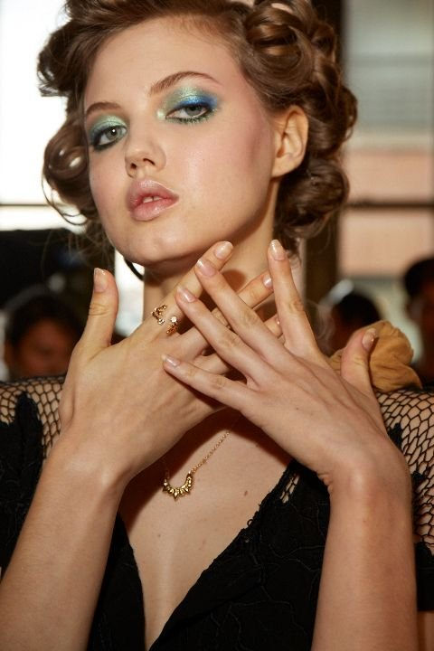 <p>Michelle Saunders for Essie chose a sleek, classic nail look for DVF.</p>