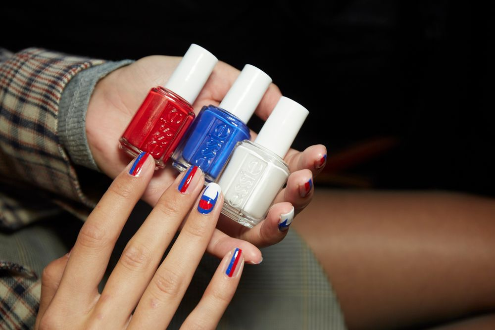 <p>Essie colors used in this look for Kith include Blanc, Really Red, and Butler Please<br />.<br /><br /></p>
