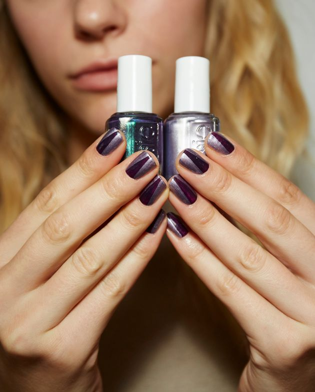 <p>Michelle Saunders for Essie created a strip of Dressed to the Nineties surrounded by Girly Grunge to call to mind the sliver of a feline pupil.</p>