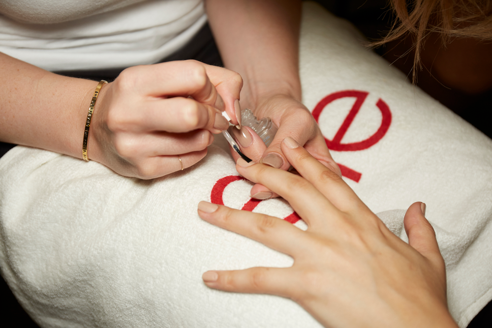<p>Essie Cocktails and Coconuts, Au Natural, and Matte Abut You Top Coat were used at Alexander Wang. PHOTO CREDIT: Sam Kim&nbsp;for essie</p>