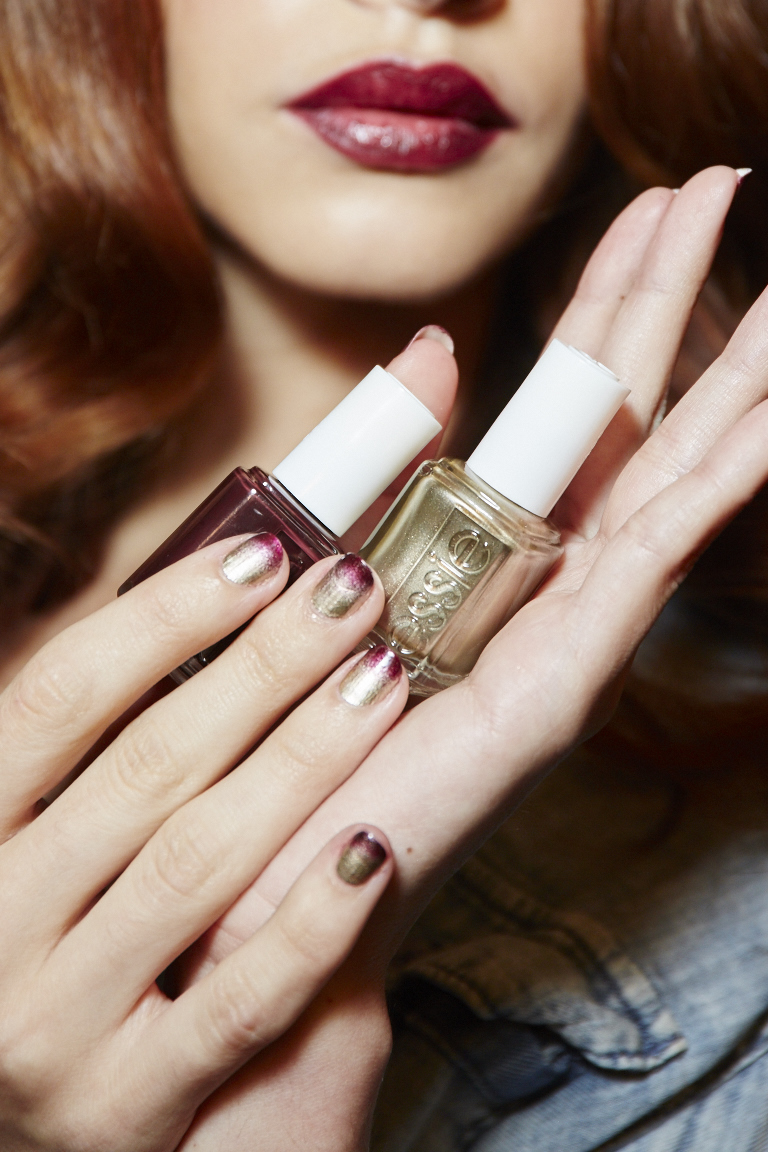 <p>Essie Good as Gold and Sole Mate at Michael Costello</p>