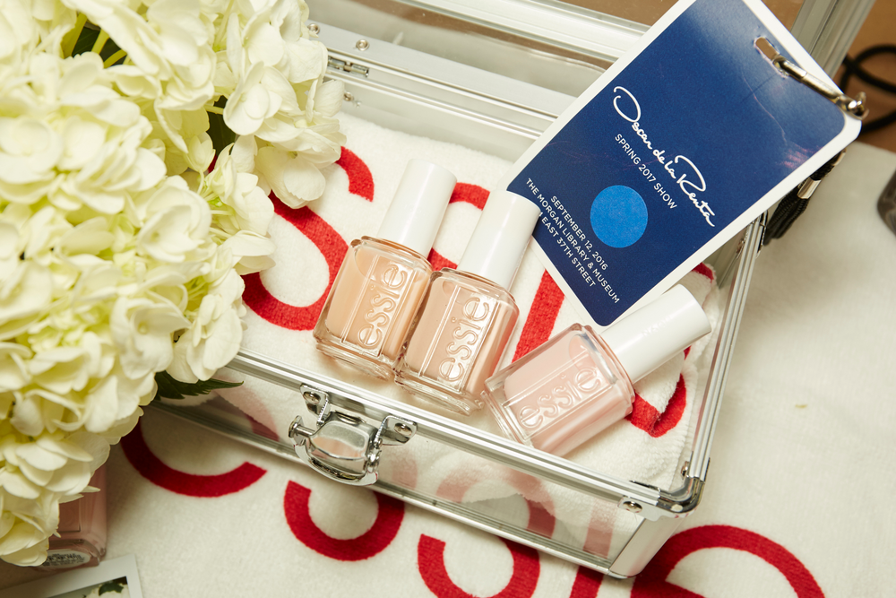 <p>Essie Sping the Bottle and Mademoiselle were used for pedicures at Oscar de la Renta. PHOTO CREDIT: Sam Kim&nbsp;for essie</p>