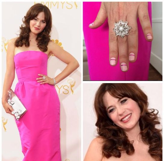 <p>Tom Bachik gave Zooey Deschanel a tonal pink manicure for the Emmys. Image via @tombachik.&nbsp;</p>