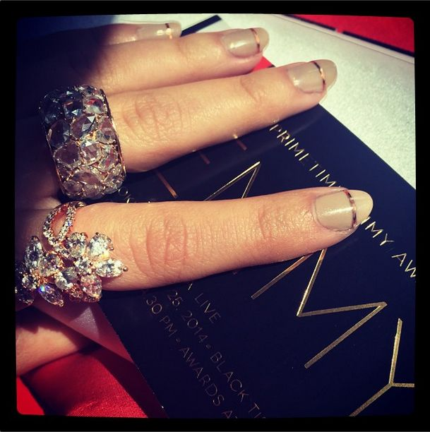 <p>Modern Family's Sarah Hyland asked her social media followers to choose her nail color for the evening. She settled on Essie's Cocktails and Coconuts, applied by Christina Aviles. Photo via @therealsarahhyland</p>