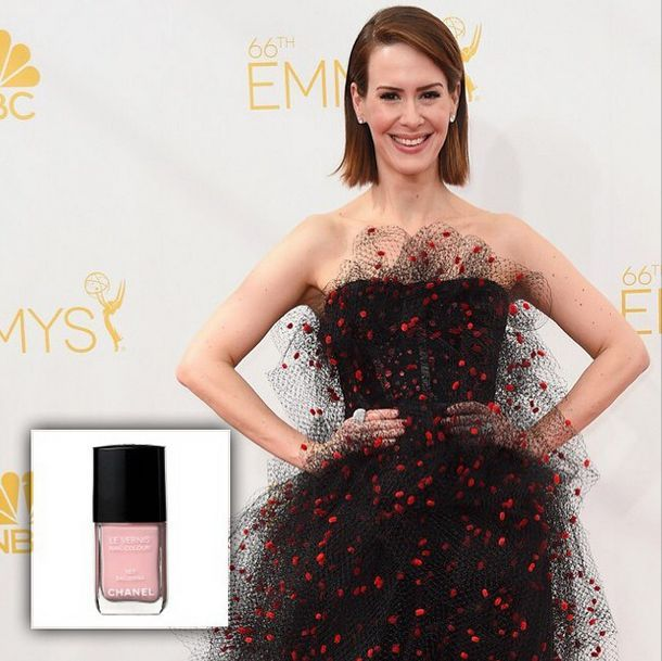 <p>Karen Gutierrez used Chanel Ballerina on Sarah Paulson for the Emmy Awards. Image via @karengnails.&nbsp;</p>