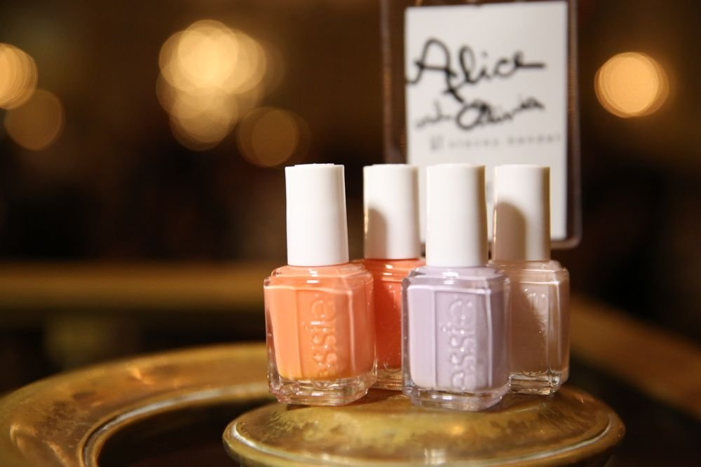 <p>Essie Go Ginza, Limo-Scene, Resort FLing, and Tart Deco were used at Alice + Olivia. Photo courtesy of Essie.&nbsp;</p>