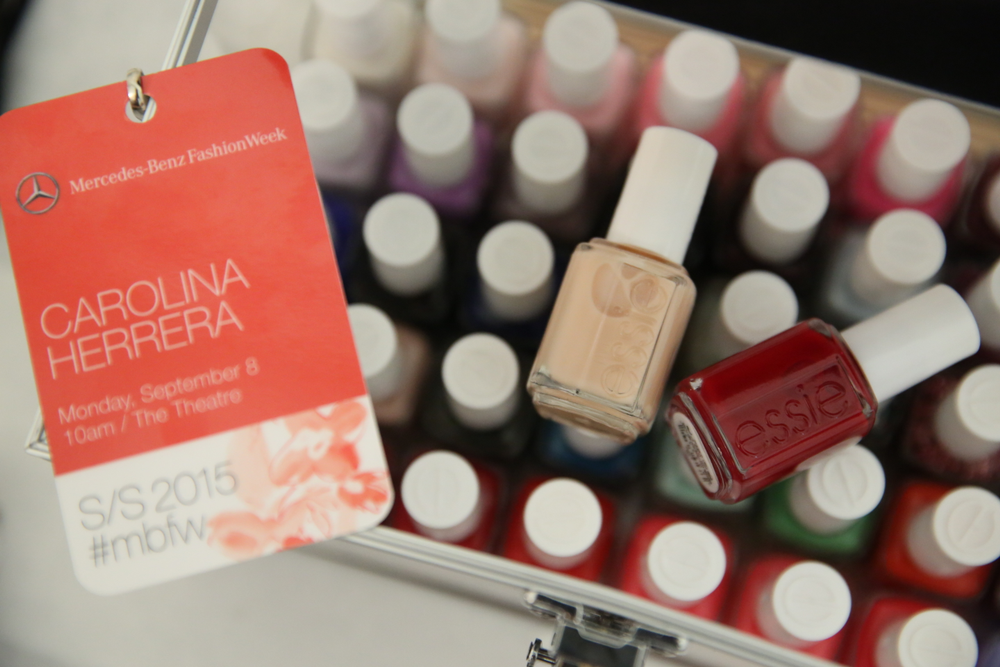 <p>Carolina Herrera&rsquo;s Spring/Summer 2015 collection was filled with brightly colored pieces that were structured, yet romantic. Essie polish tied the look together. Photo courtesy of Essie.</p>
