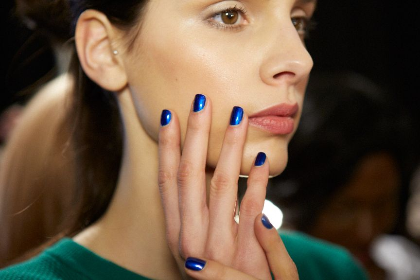 <p>Julie Kandalec used two coats of Essie Aruba Blue for the manicures at Costello Tagliapietra.</p>