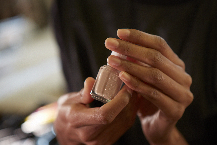 "<p>Michelle Saunders for Essie created an ""undone"" nail look for DKNY.</p>"