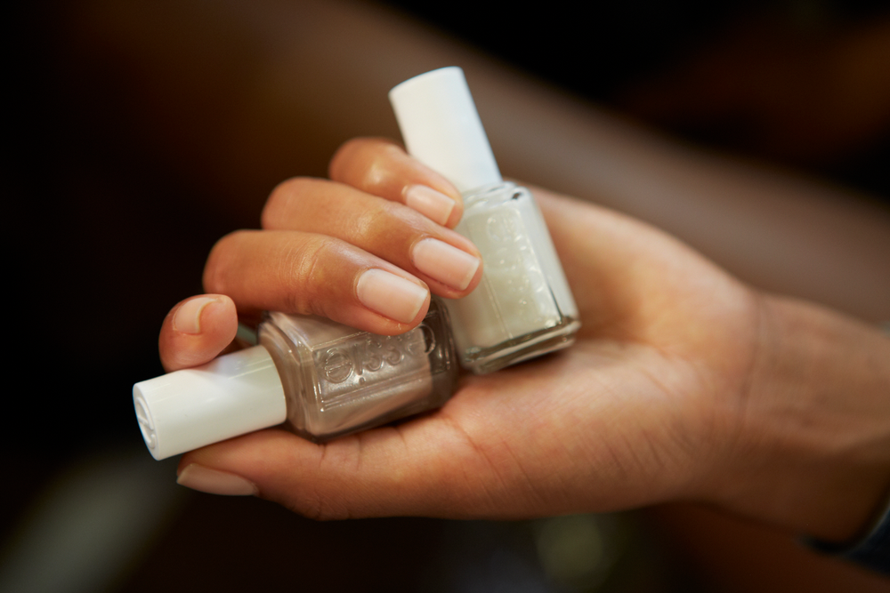 <p>Essie Ridge Filling base coat, Au Natural, and Allure were layered for the clean look at DKNY. Photo courtesy of Essie.&nbsp;</p>