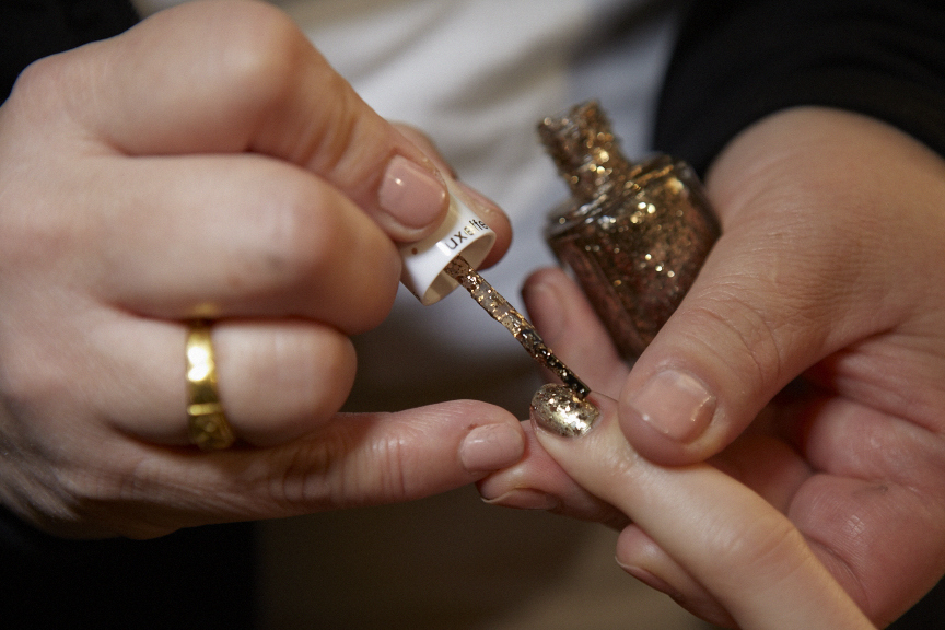 <p>Essie's Rock at the Top was layered between Shifting Power and For the Twill of it to create the nails at Nanette Lepore.</p>