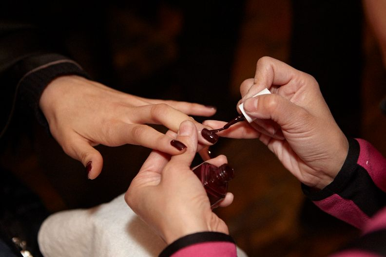 <p>Rita Remark for Essie had the team use two coats of Shearling Darling to get the look at Veronica Beard.</p>