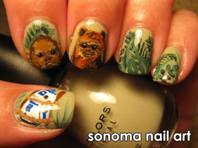 "<p>R2D2 attacked by Ewok nails, by <a href=""http://nailartgallery.nailsmag.com/michmarq"">Michelle Marquez</a>, Santa Rosa, Calif.</p>"
