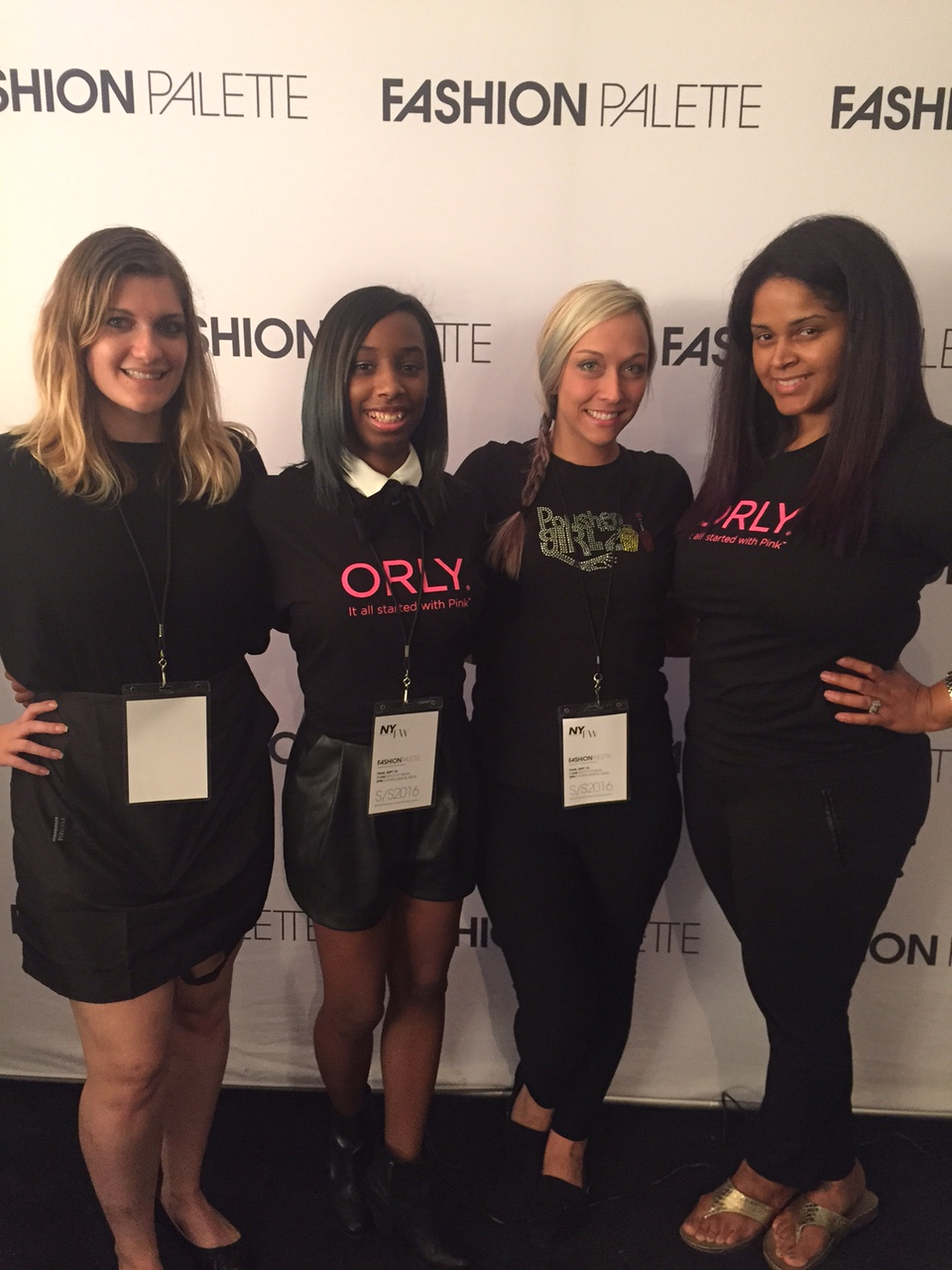 <p>Alanna Wall (second from left) is the youngest nail lead at NYFW.</p>