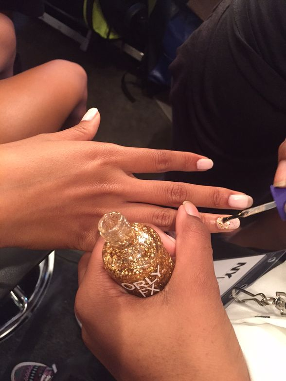 <p>Orly Too Fab was used to create a gradient at the Fashion Palette show.</p>