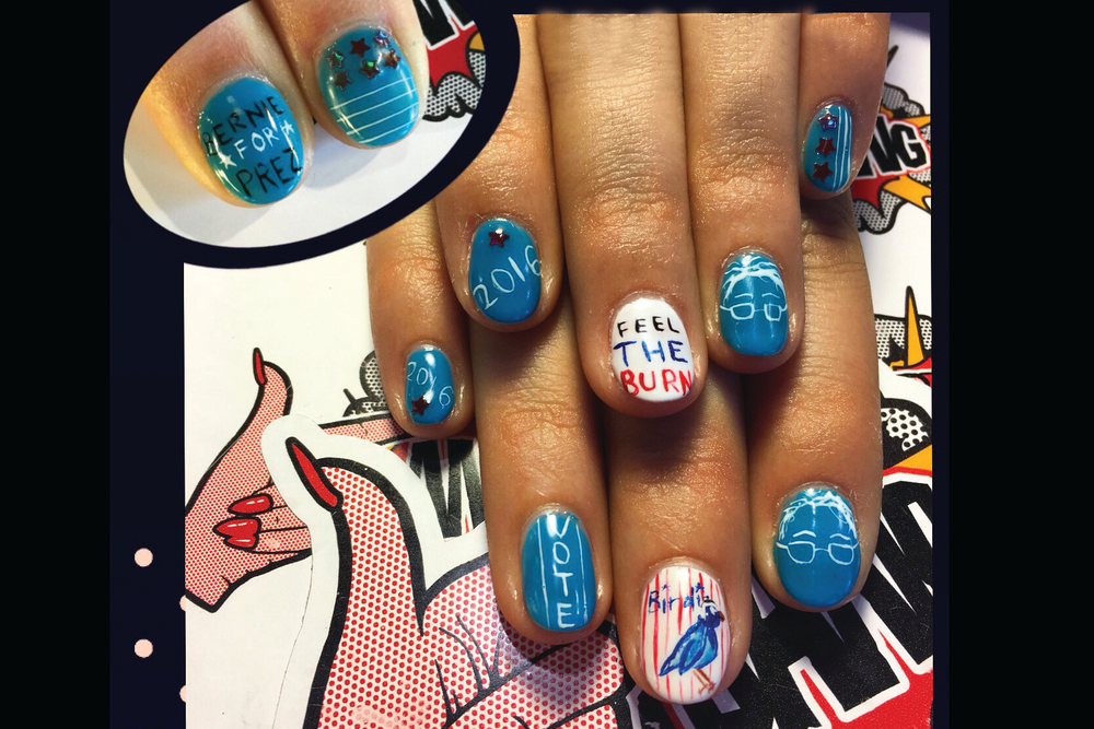 <p>Bernie Sanders nails by Chichi Heinmiller. Fingerbang, Portland, Ore.</p>