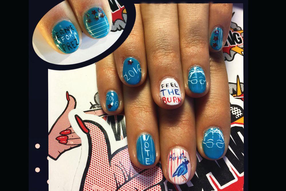 <p>Bernie Sanders nails by Chichi Heinmiller. Fingerbang, Portland, Ore.</p>