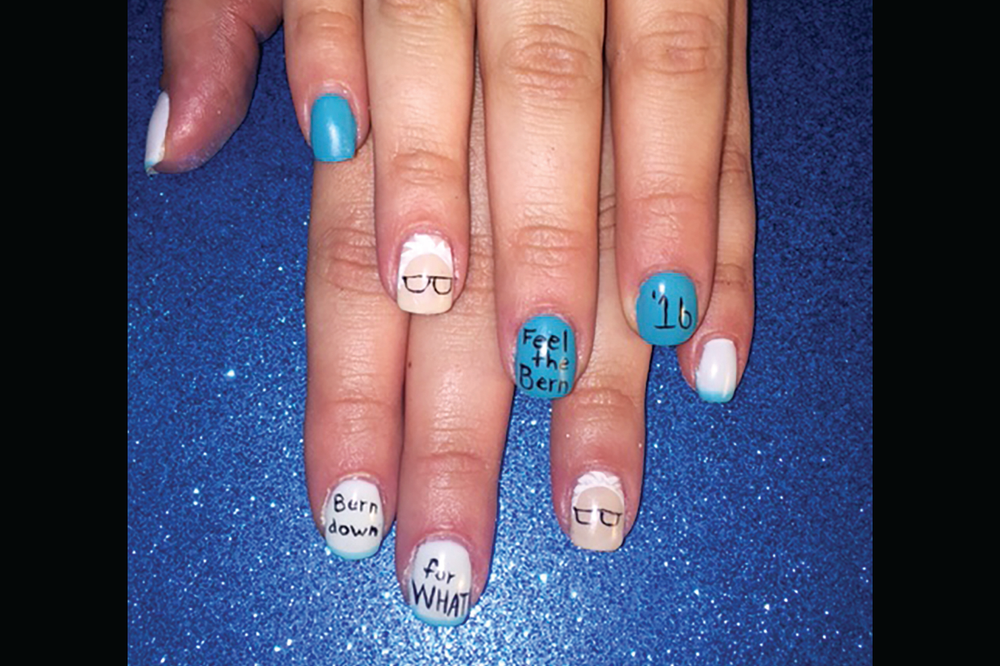 "<p>""Feel the Bern"" nails by Liz Tucker, Mane Attraction, Pleasanton, Texas<br /><a href=""http://www.instagram.com/theliztucker"">@theliztucker</a></p>"