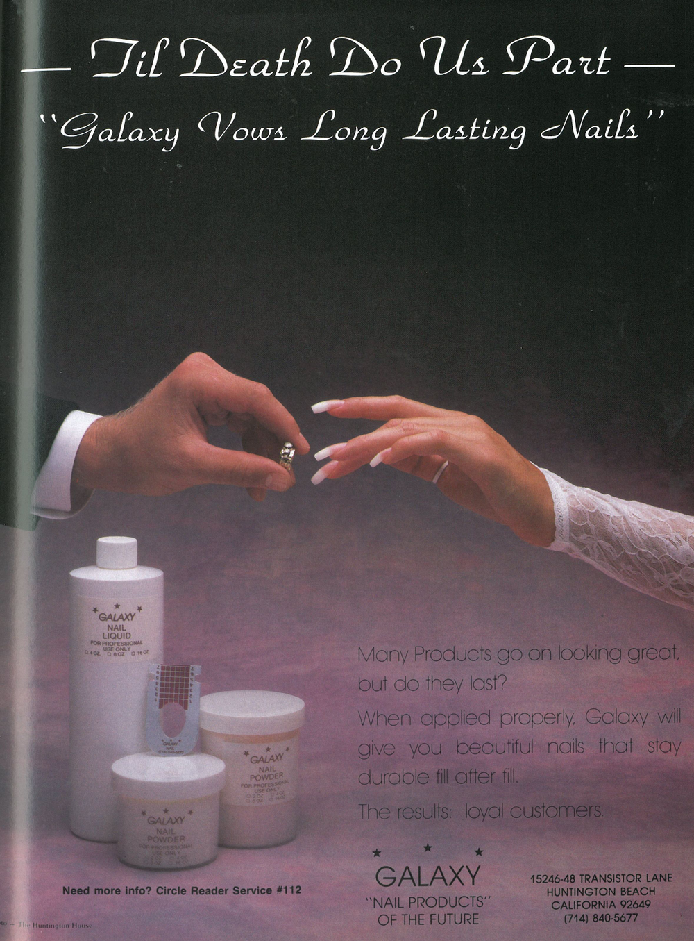 <p>Galaxy's first ad, which ran in NAILS in 1989.</p>
