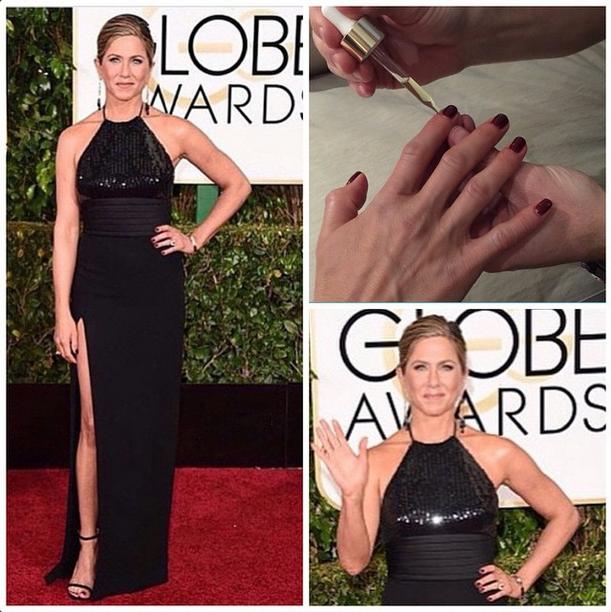 <p>Bachik created bordeaux nails for nominee Jennifer Aniston. Image via @tombachik.</p>