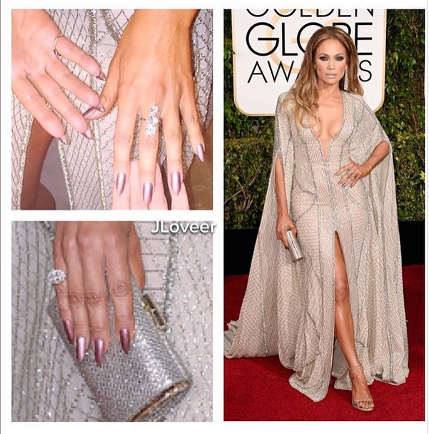 <p>Another look at Bachik's metallic berry Golden Globes creation on JLo. Image via @tombachik.&nbsp;</p>