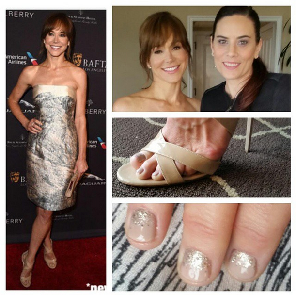 <p>Golden Globe nominee Frances O'Connor got the Cuccio treatment on her hands and toes courtesy of Elaine Watson. Watson used Cuccio Colour Veneer in Tel-Aviv About It, topped off with Cuppa Cuccio. Image via @elainetwatson.</p>