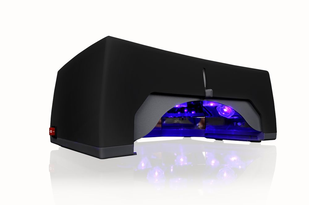 """<p>Ten seconds is all you need to cure base and top coat in <a href=""""http://buynailsdirect.com/"""">Geluv</a>&rsquo;s LED lamp. Thirty and 60 second settings are also on the 30-watt lamp. All five fingers fit in the lamp and the bottom is removable for feet. Equipped with a one-year warranty, this lamp is lightweight and comfortable enough to be sanitized and moved easily.</p>"""