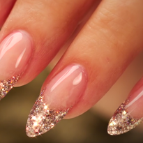 Almond-Shaped Glitter French Acrylic Nails