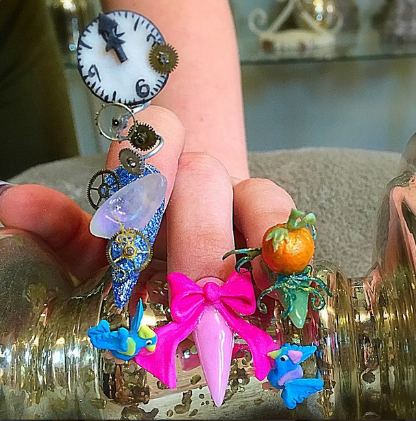 <p>Honorable mention for 3-D art in Gelish &amp; Morgan Taylor's Mani at Midnight Contest: @nailsbygold</p>