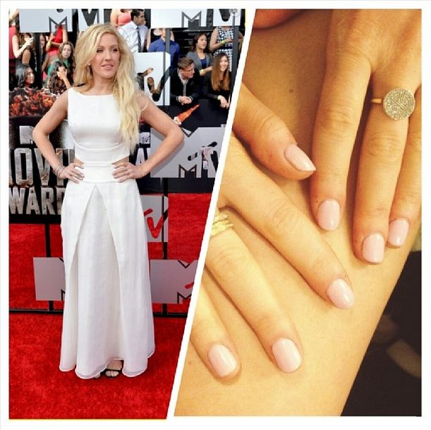 <p>Ellie Goudling wore Red Carpet Manicure's Simply Adorable to match her white gown at the MTV Movie Awards. Celebrity manicurist Kimmie Kyees created this delicate look. Photo via @kimmiekyees.</p>
