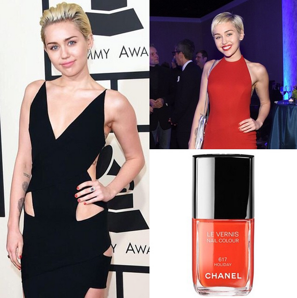 <p>Miley Cyrus wore Chanel Holiday to the Grammys. Nails by Steph Stone. Image via @stephstonenails.</p>