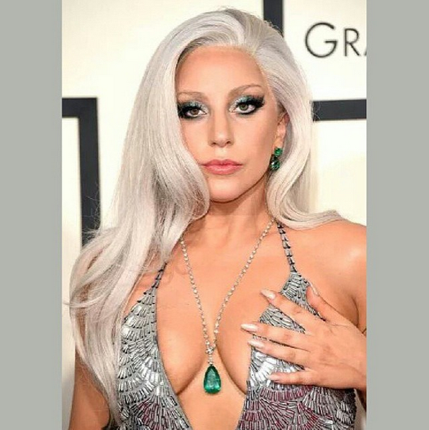 <p>The combination of Essie's All Eyes on Nudes and Jiggle Hi, Jiggle Low, gave Lady Gaga's nails a platinum look. Michelle Saunders made the matte metallic spring to life. Image via @_michellesaunders.</p>