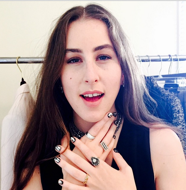 <p>The youngest Haim sister of the Grammy-nominated band wore foil embellished nails done by Steph Stone. Image via @stephstonenails.</p>