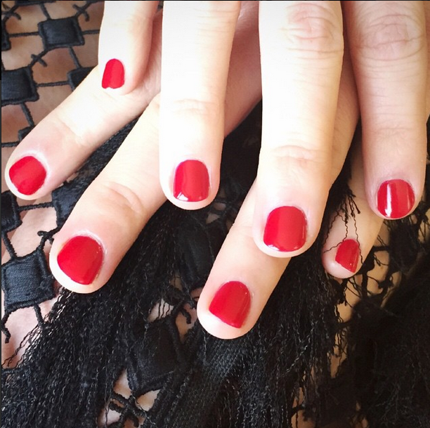 <p>Meanwhile, Este Haim chose a more subtle nail look. Steph Stone used Chanel Pirate to get this sister Grammy-ready. Image via @stephstonenails.</p>