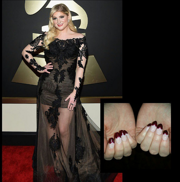 <p>Kimmie Kyees also applied nail art to Grammy nom Meghan Trainor. Kyees used Red Carpet Manicure gel-polish to design these heart-shaped French tips. Image via @kimmiekyees.&nbsp;</p>
