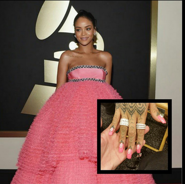 <p>Rihanna stunned in a pink gown, but her pink nails by Kimmie Kyees were also stunners. Kyees used Orly and embellishments from Mr. Nail Art available at Skyline Beauty Supply to create this look that definitely stood out on the red carpet. Image via @kimmiekyees.</p>