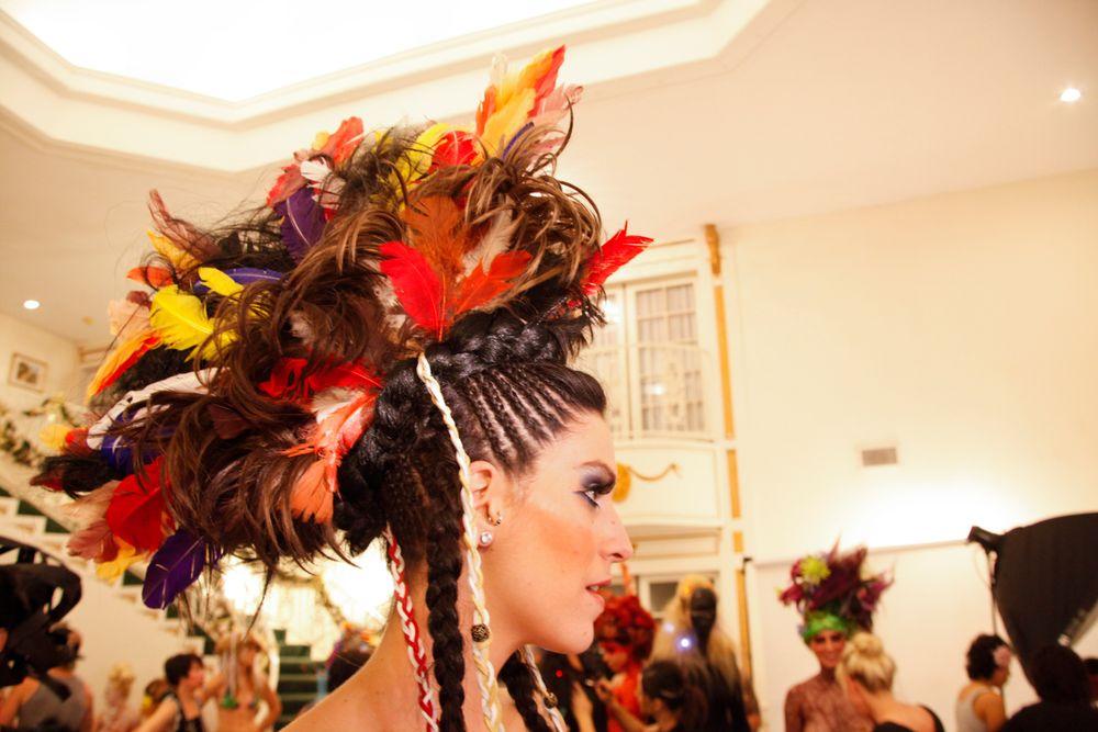 <p>Headliners Salon: Tzigone Osborne's Native American-inspired fantasy hairstyle.</p>