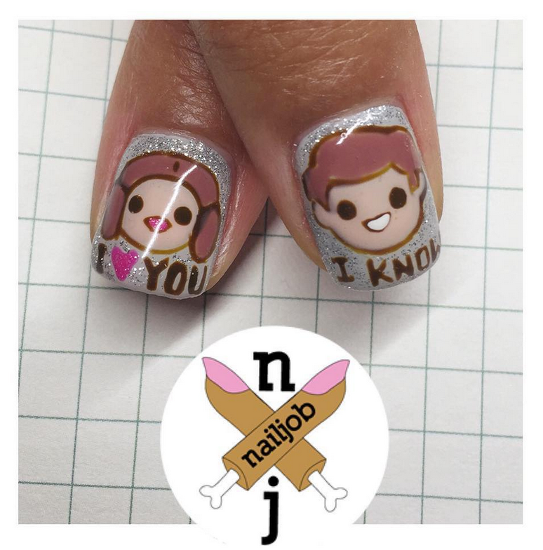 "<p>Princess Leia and Han Solo nails by <a href=""https://www.instagram.com/nailjob"">Fariha Ali</a>, Los Angeles</p>"