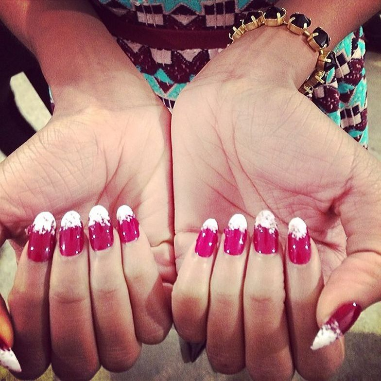 <p>Priti NYC prettied up the nails at Harare with Cherry Ripe base and White Ballet Dahila tips.</p>