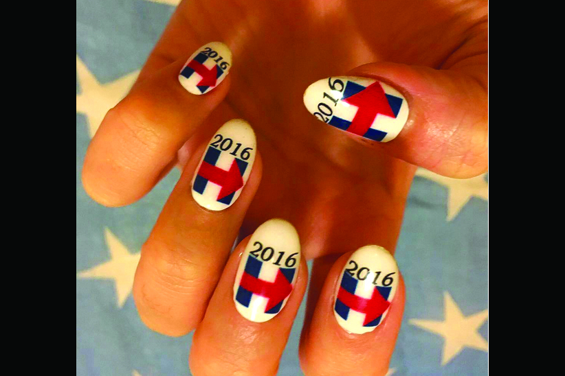 "<p>Hillary Clinton nails by Kimmie Kyees, Los Angeles <a href=""http://www.instagram.com/kimmiekyees"">@kimmiekyees</a><br /><br /></p>"